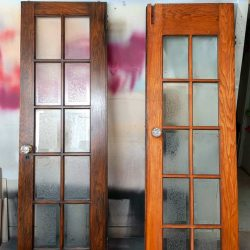 Gel Stained Doors Over Existing Finish before and after