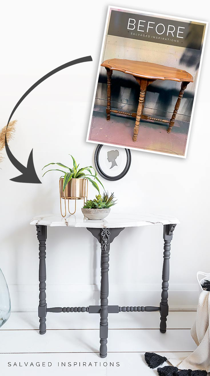 Painted Marble Entryway Table before and after