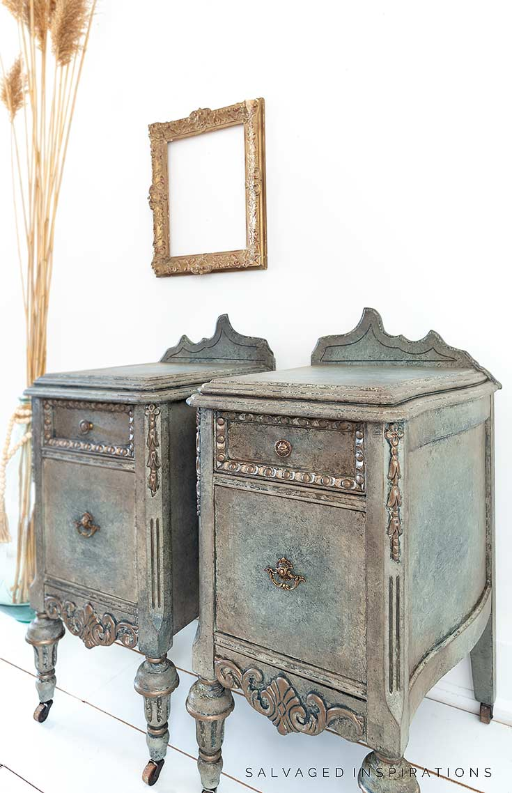 Side View of Glazed and Painted Nightstands
