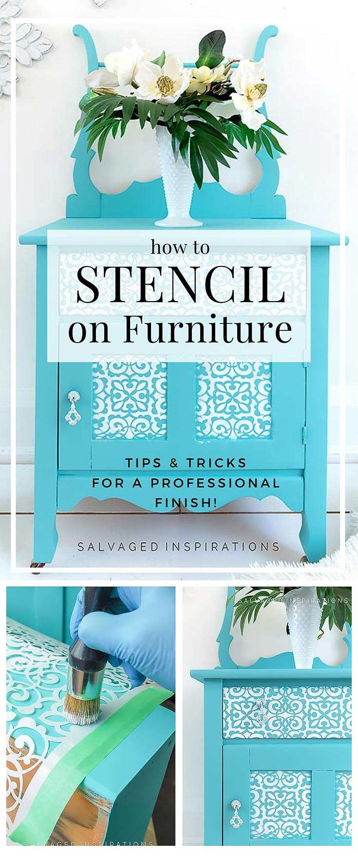 How To Stencil on Furniture Tutorial