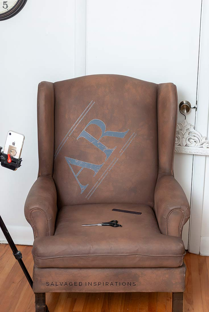Chair with Transfer Lettering In Progress