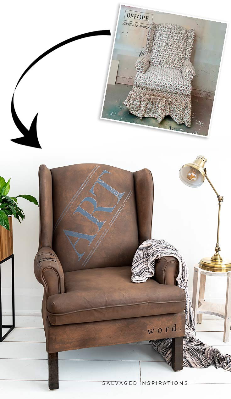Painted Chair With Transfers Before and After