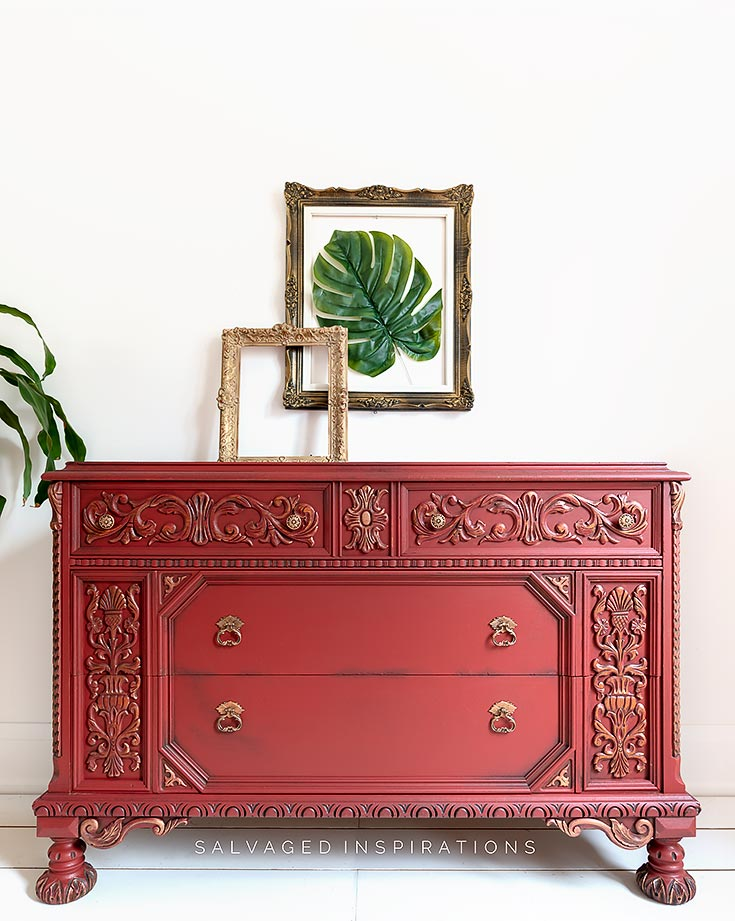 Red Ornate Dresser Wet Distressing