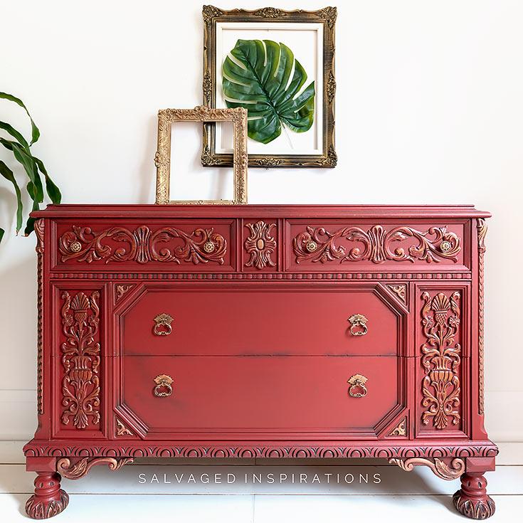 Red Ornate Dresser w Wet Distressing