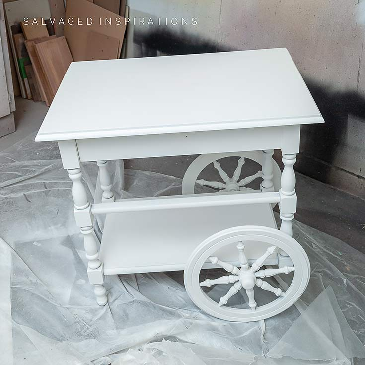 2nd coat of Sprayed SILK Paint on Tea Cart