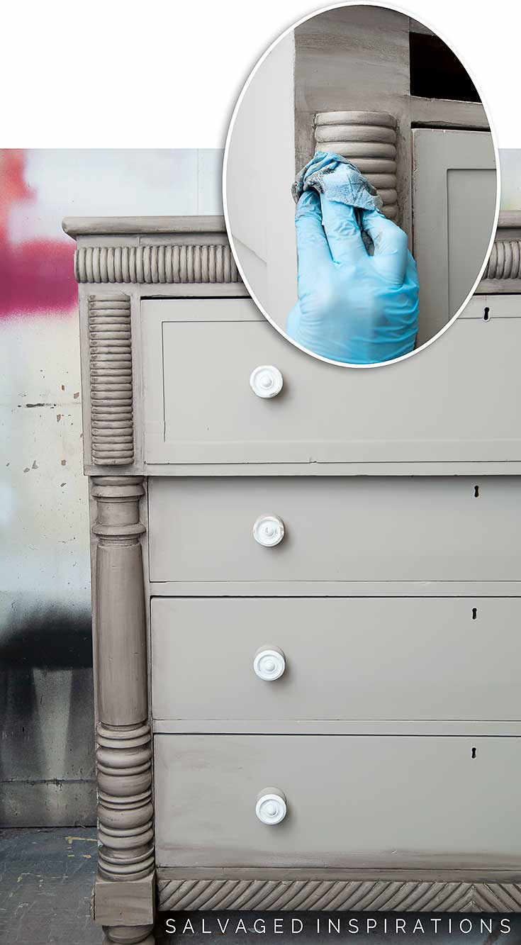 Applying A Paint Wash To Empire Dresser