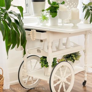 Side View Of Painted Tea Cart IG