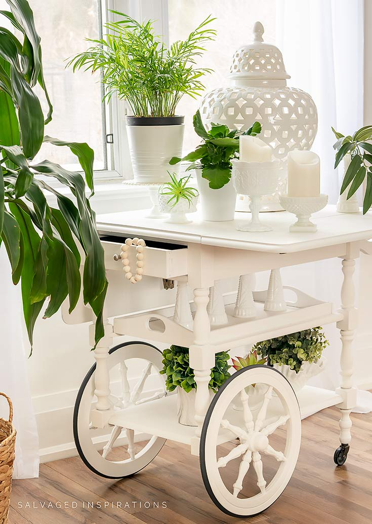 Side View Of Painted Tea Cart