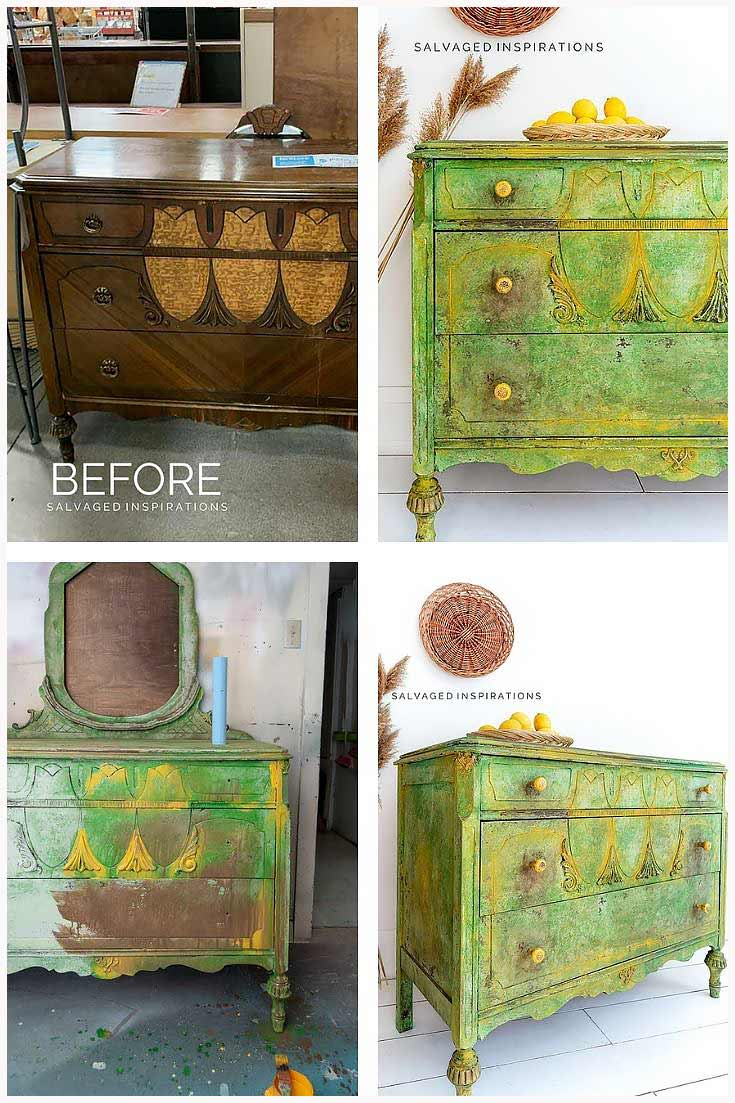 Before and After Spring Textured Dresser Makeover