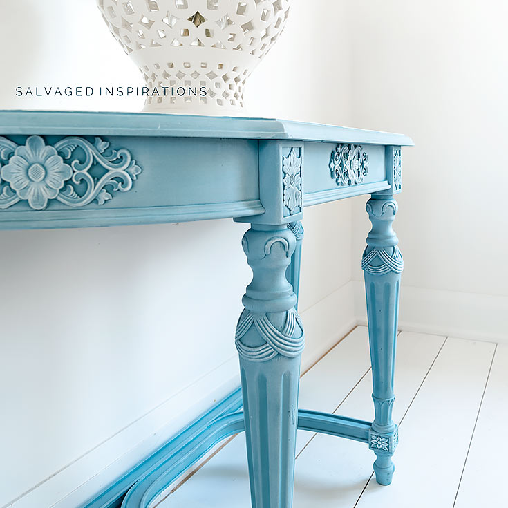 Side View of Silk Painted Entry Table IG