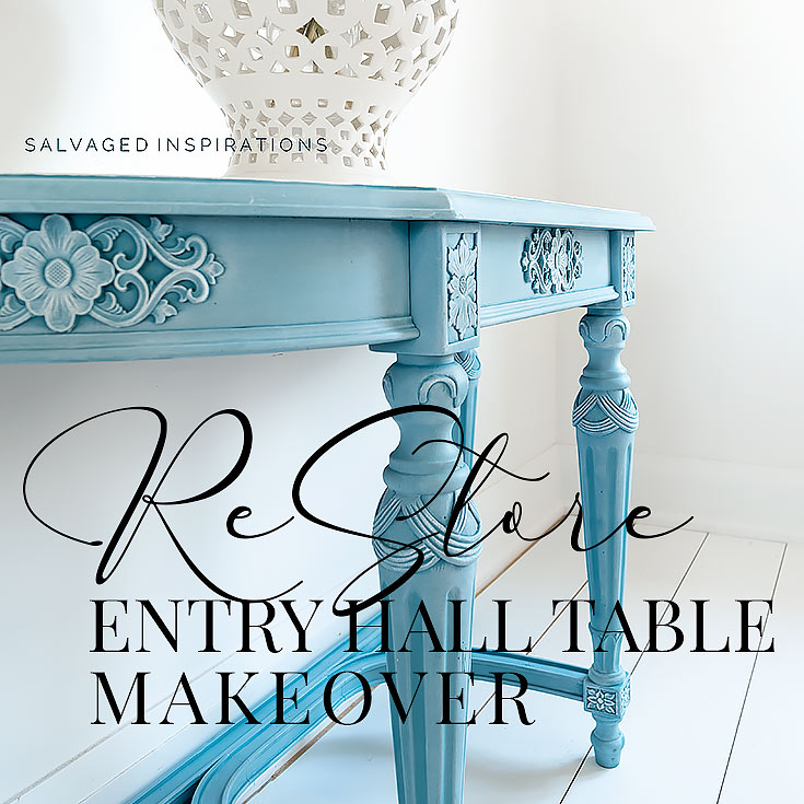 Side View of Silk Painted Entry Table txt