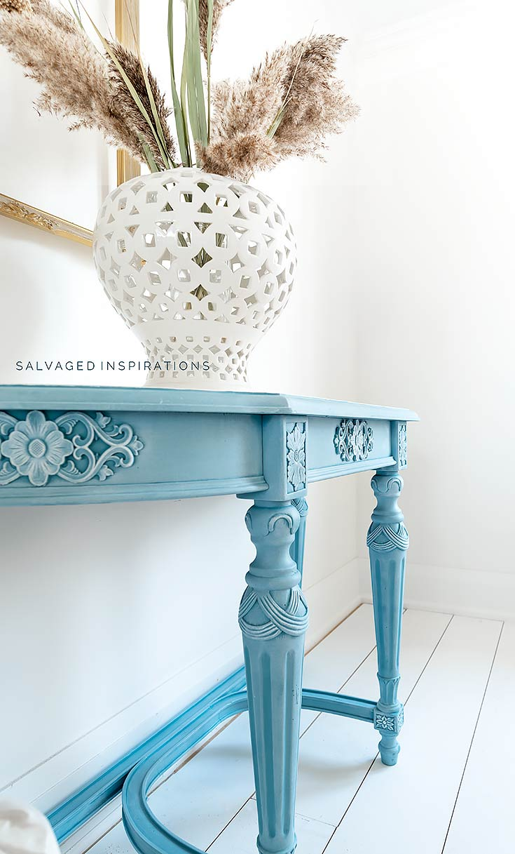 Side View of Silk Painted Entry Table