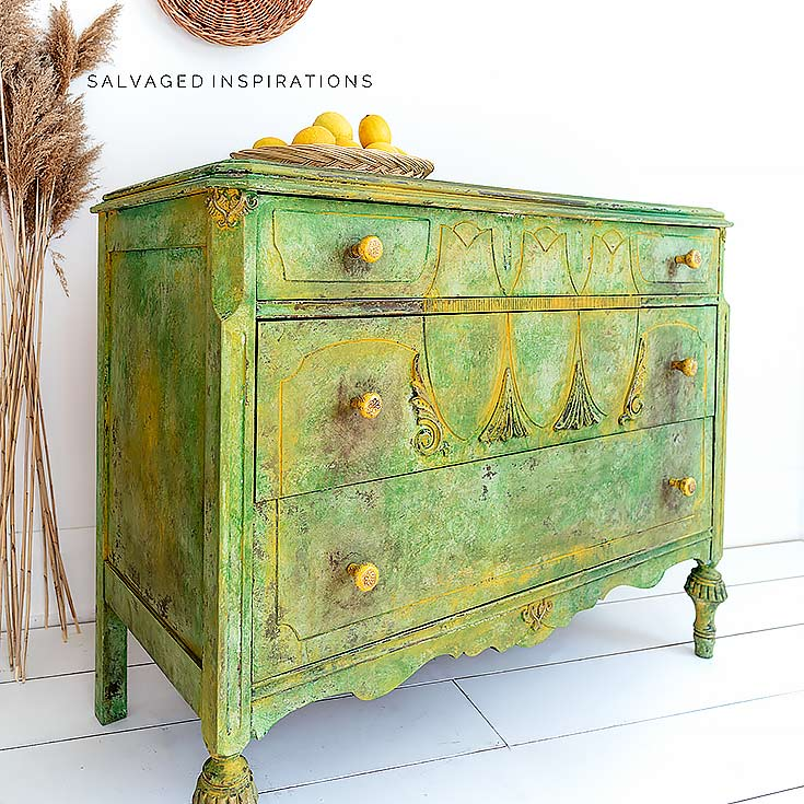 Spring Painted Textured Dresser Makeover IG