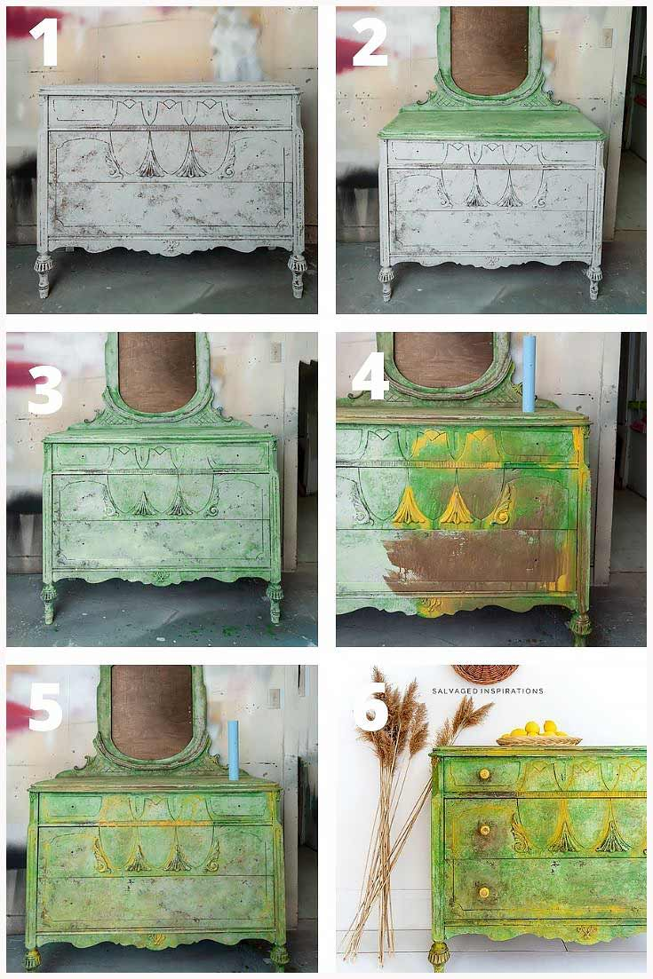 Spring Textured Dresser Makeover Steps