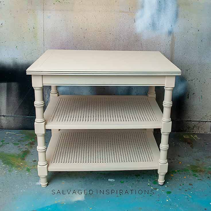 Cane Side Table in SILK Sand Castle