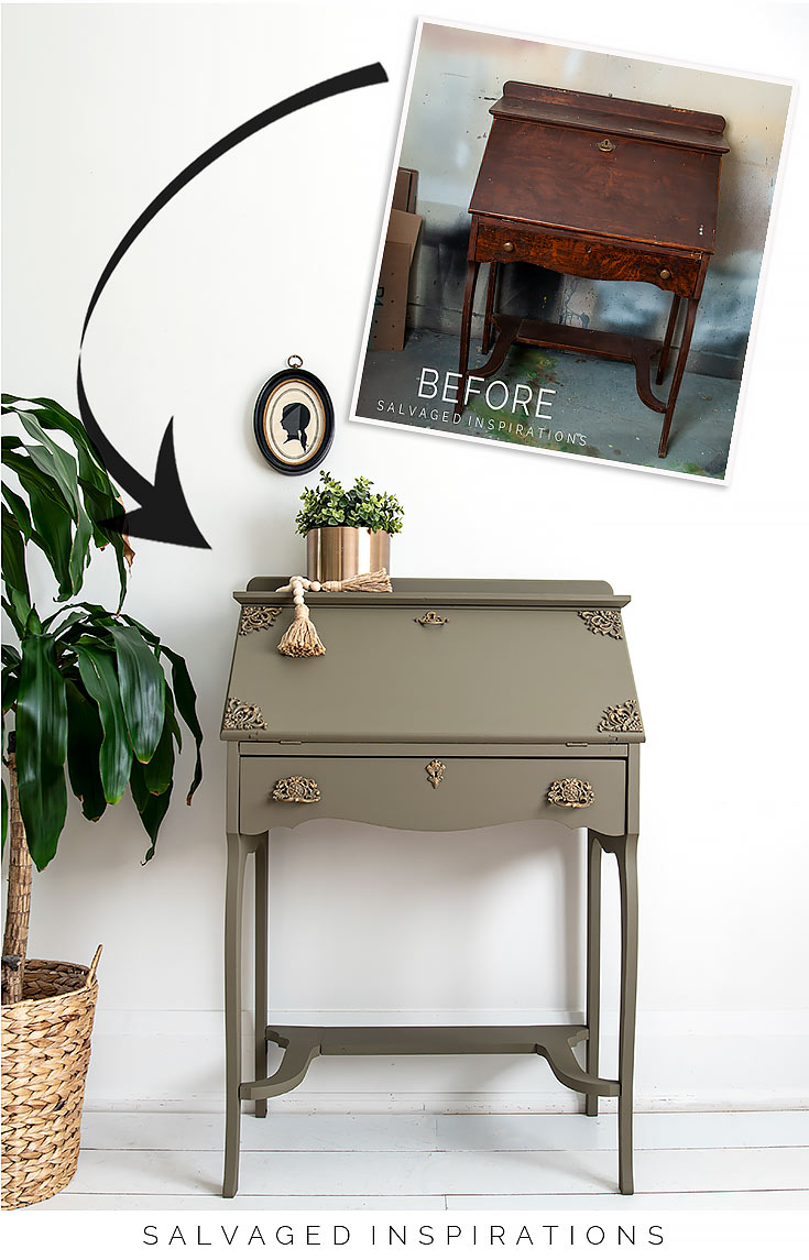 DIY PAINTED SECRETARY DESK Before and After