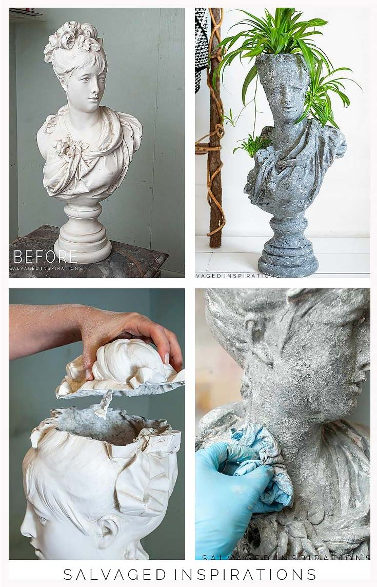 How To Make A Concrete Head Planter Collage