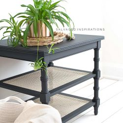 Painted Ethan Allen Cane Side Table IG