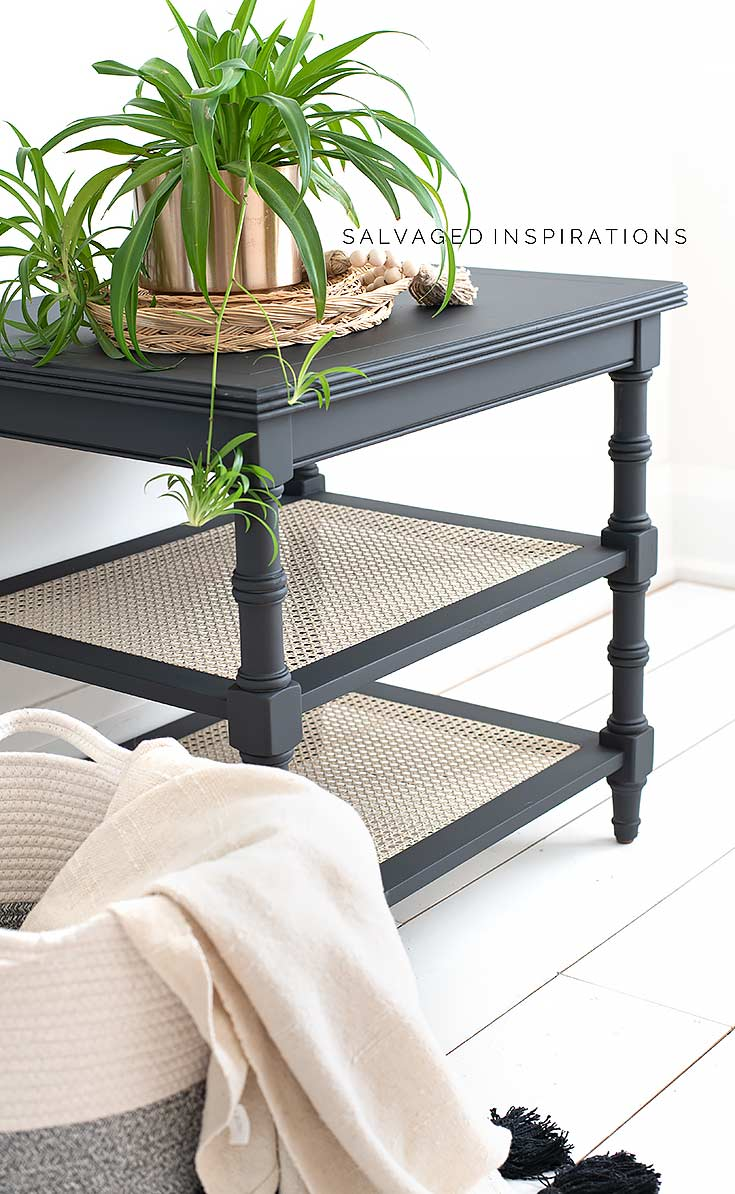 Painted Ethan Allen Cane Side Table
