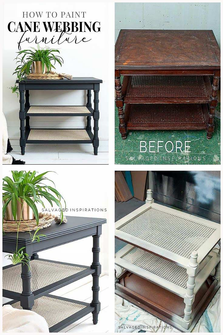 Painting Cane Side Table Before and After