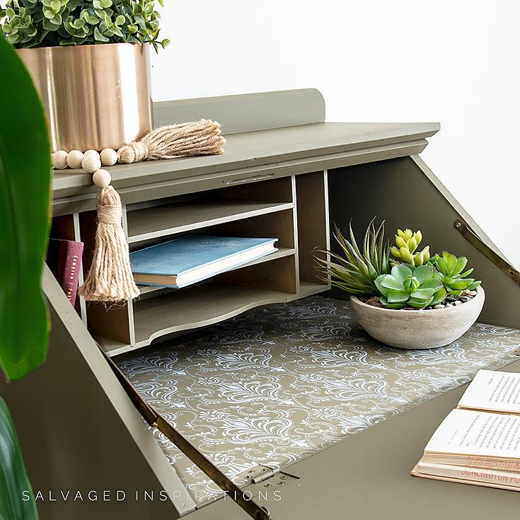 Silk Painted Secretary INSide View