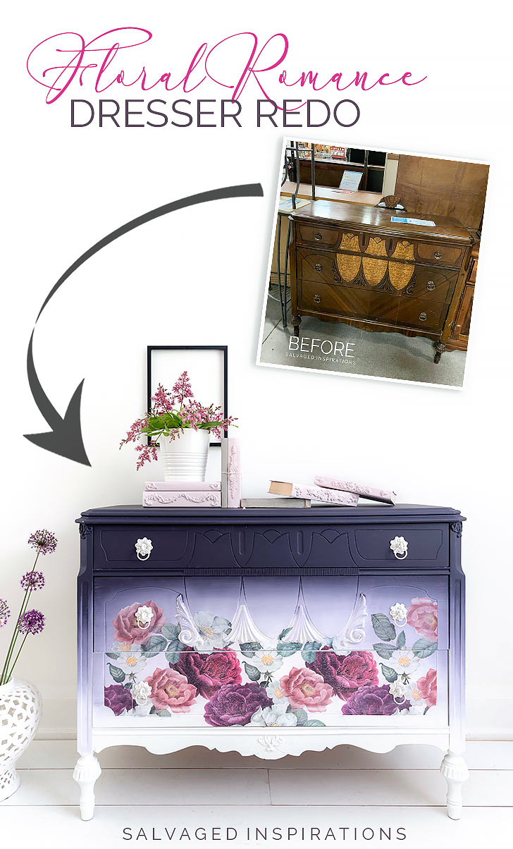 Floral Romance Dresser Redo Before and After