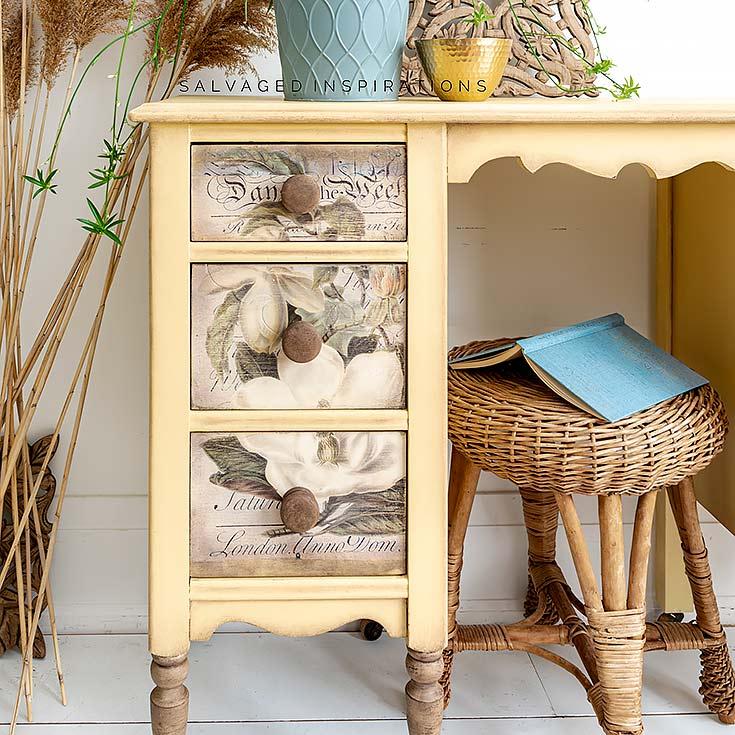 Magnolia Garden Transfer On Desk Drawers IG