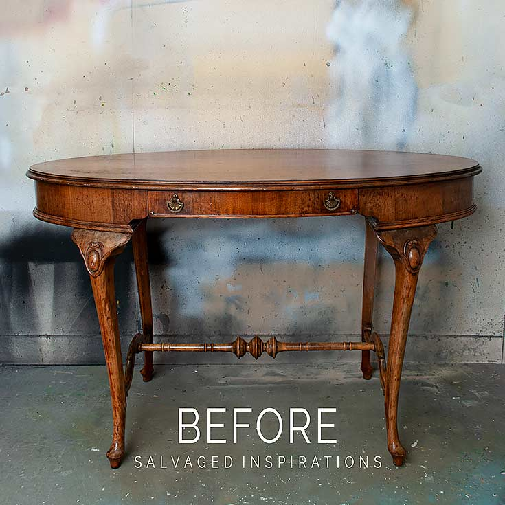 Curvy Vintage Hall Table Before