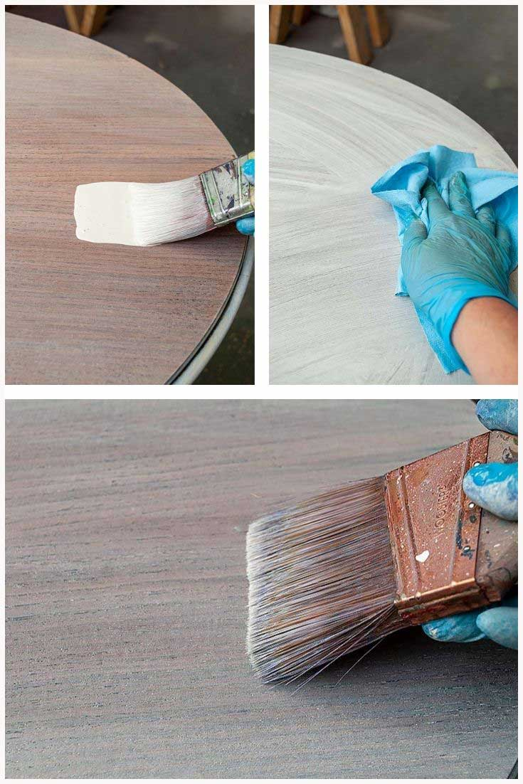 Paint Wash Stain on Vintage Table Top DIY