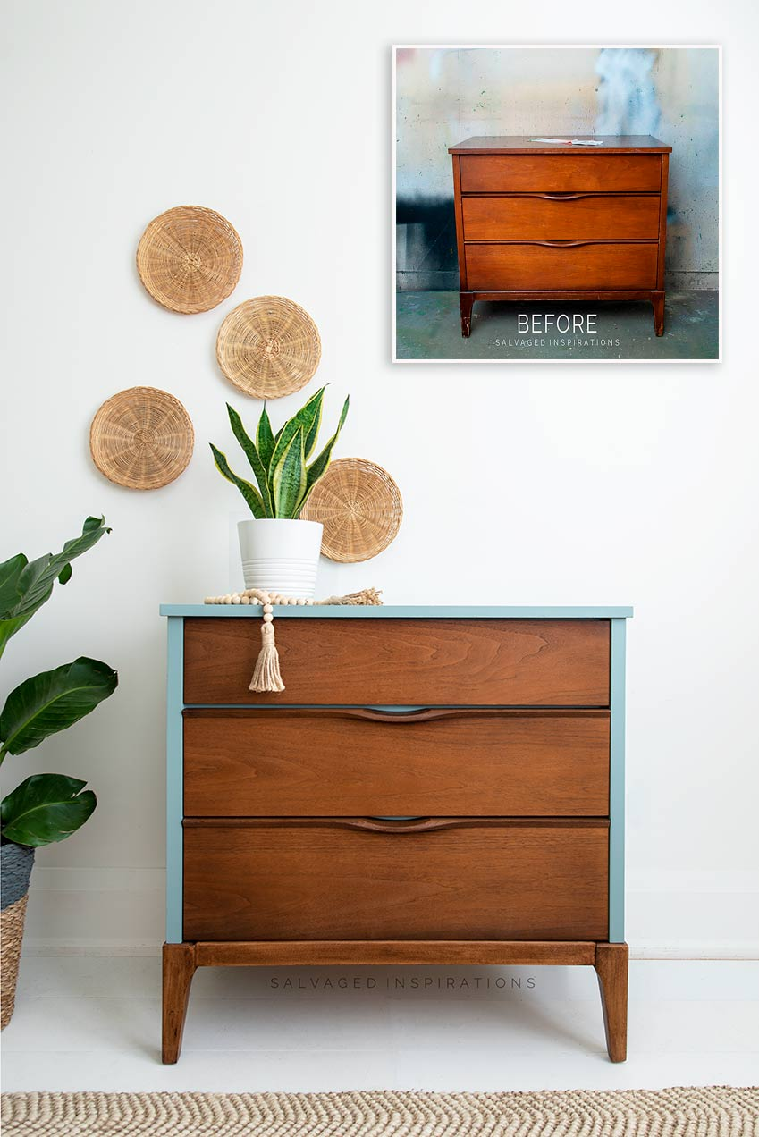 Mid Cetury Modern Dresser Before and After