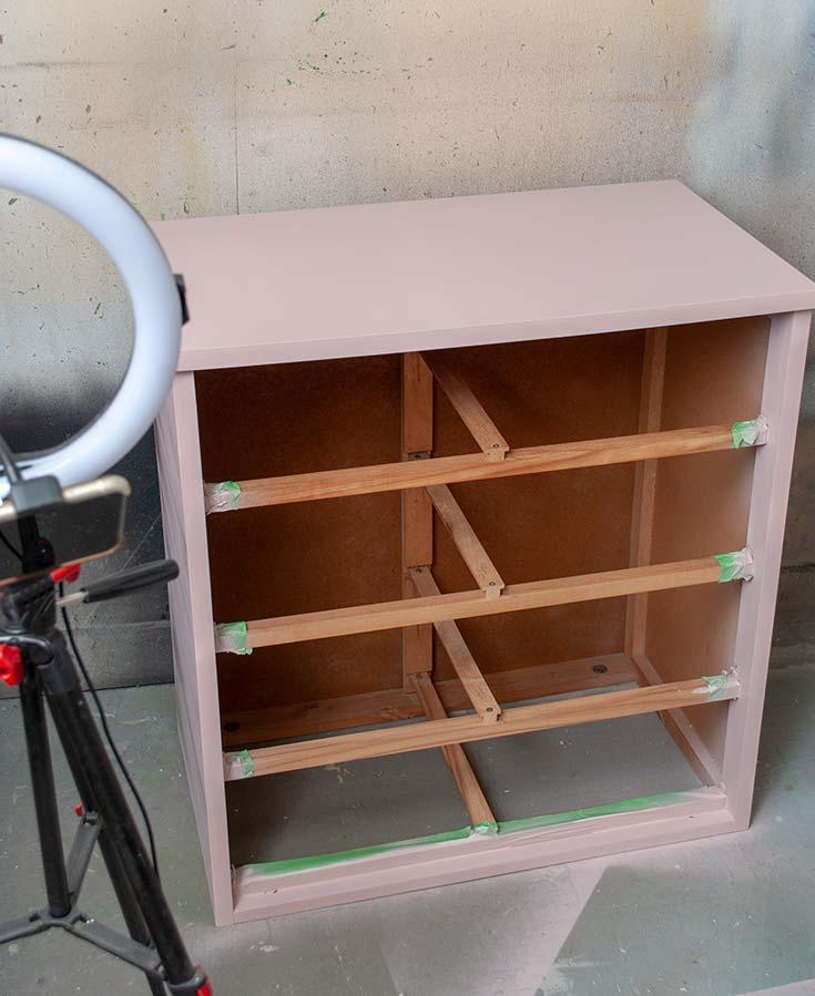 Spray Painting Laminate Dresser