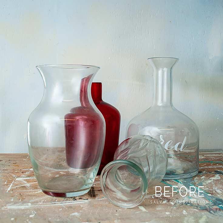 Thrift Glass Vases Before
