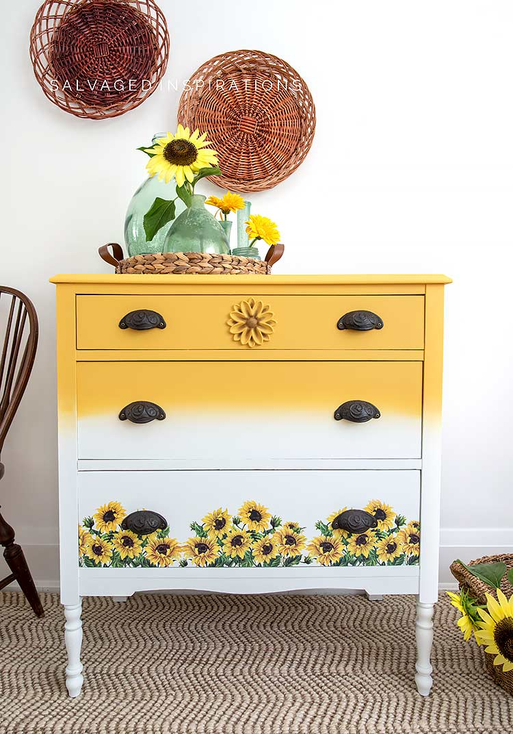 Front View Of Sunflower Dresser Makeover