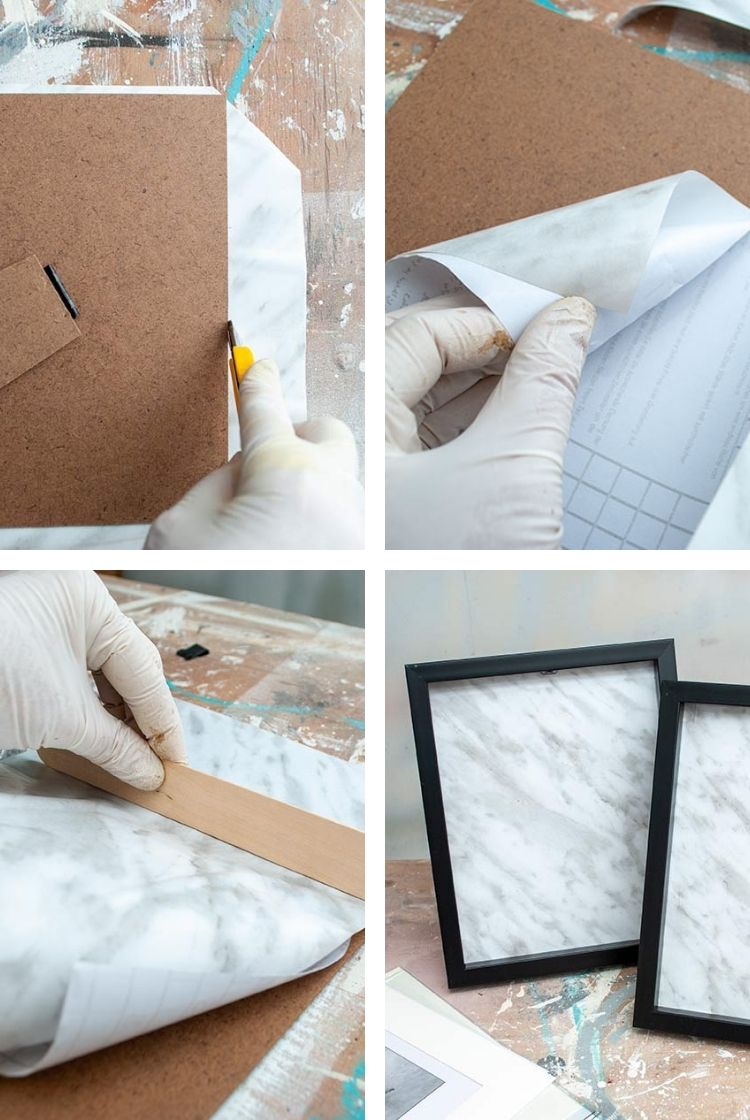 Marble Contact Paper in Frame