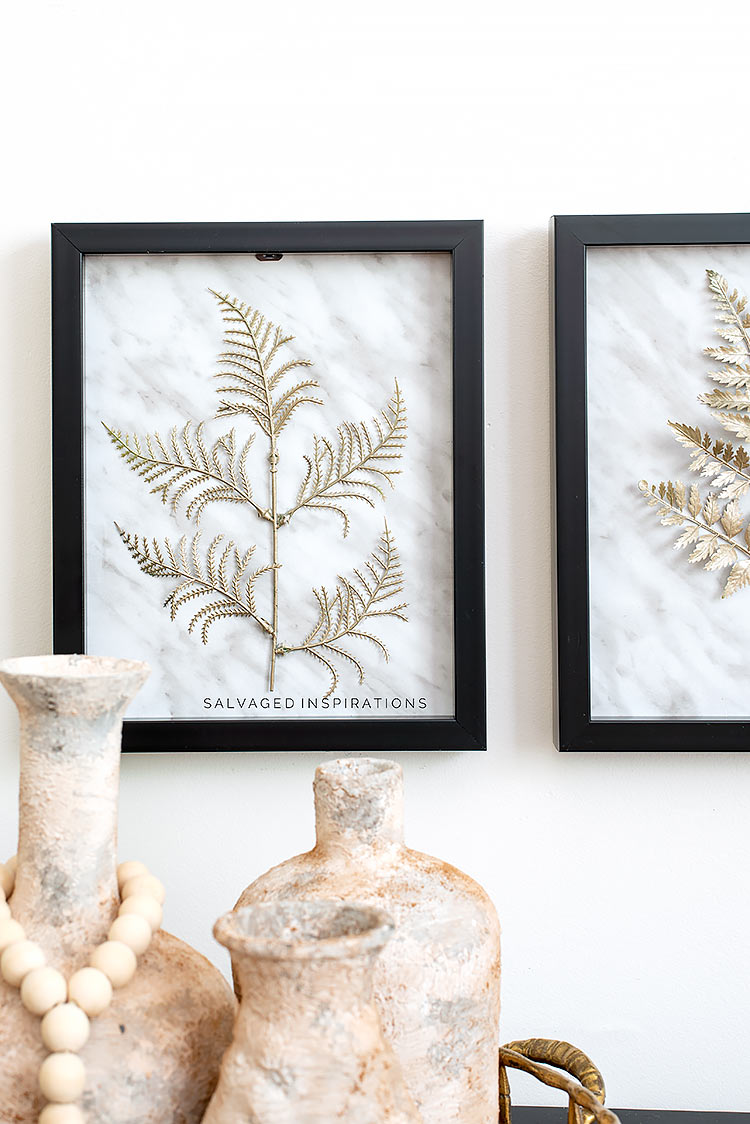 Painted Faux Ferns in Dollar Store Frame