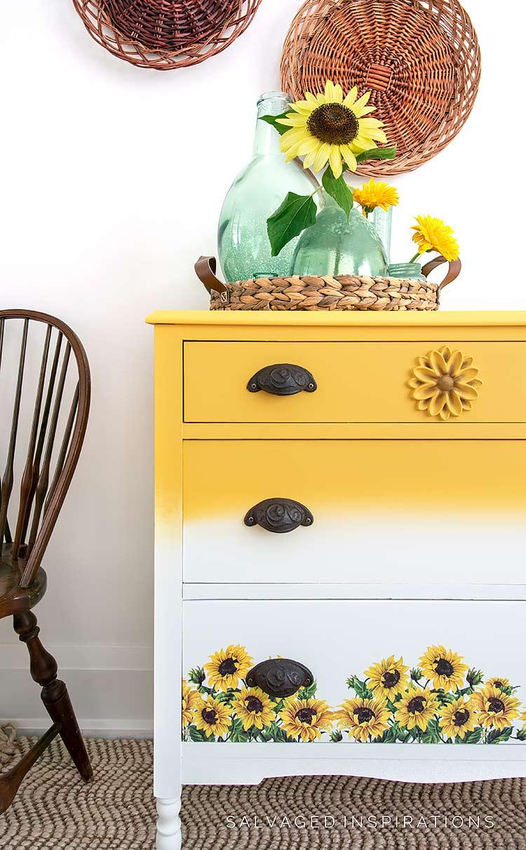 Painted Sunflower Transfer Dresser