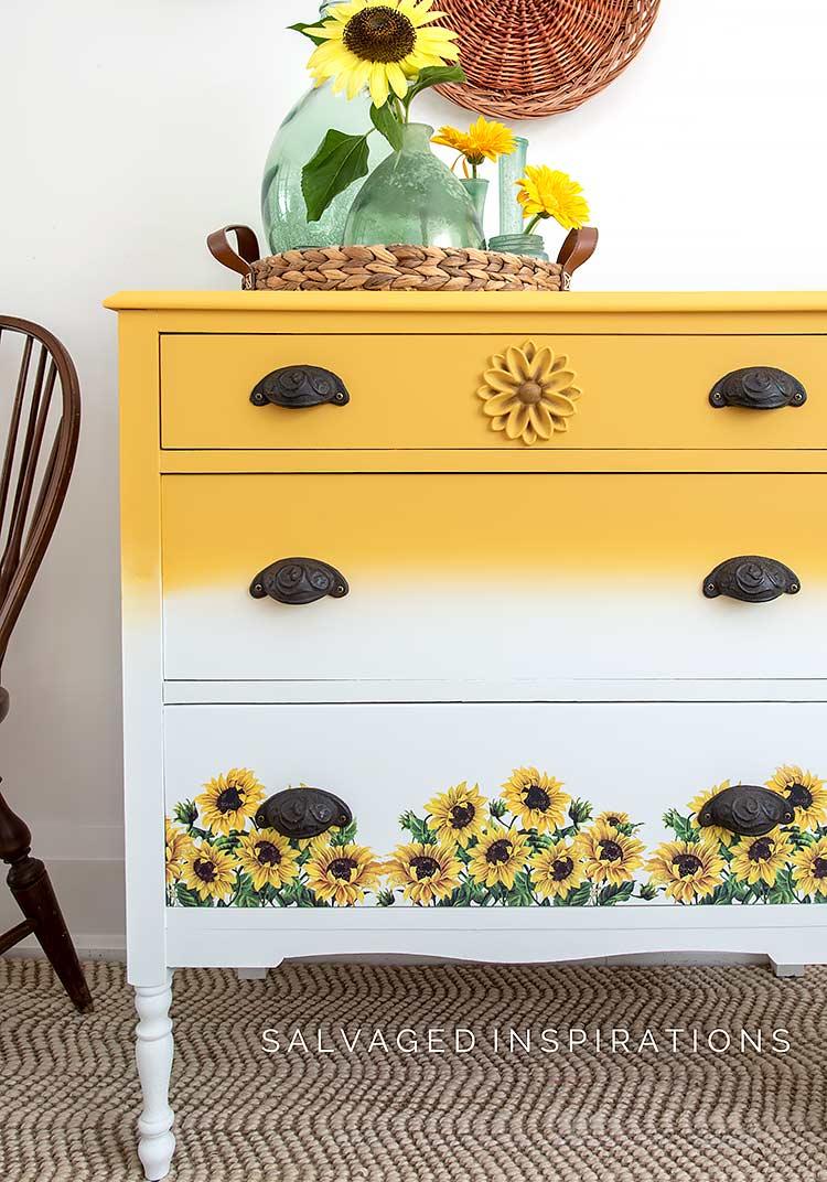 Sunflower Transfer Dresser Makeover