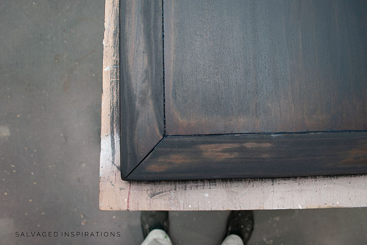 3 coats of Black Wash on Table Top