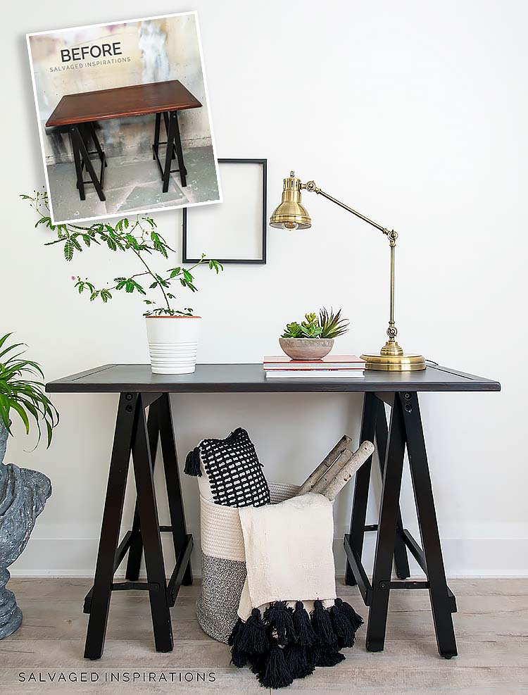 Industrial Hall Table Makeover Before and AFter